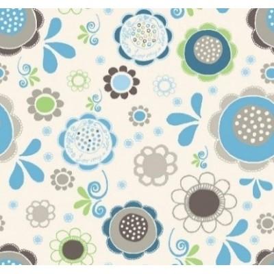 Housse Noenza Maternity Ely fleurs Bleu 100% COTON OEKOTEX