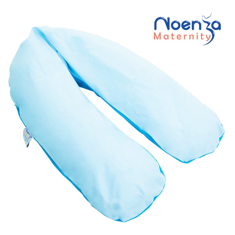 Coussin d 39 allaitement noenza maternity et housse max unie bleu for Housse coussin d allaitement